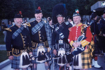 Kurt Hulbert and members of the Connecticut State Police Pipes and Drums